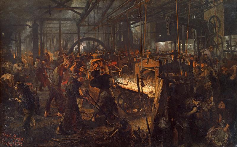 Adolph Menzel (1815–1905) , Eisenwalzwerk 1875, Alte Nationalgalerie